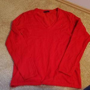 Tommy Hilfiger red v-neck sweater M